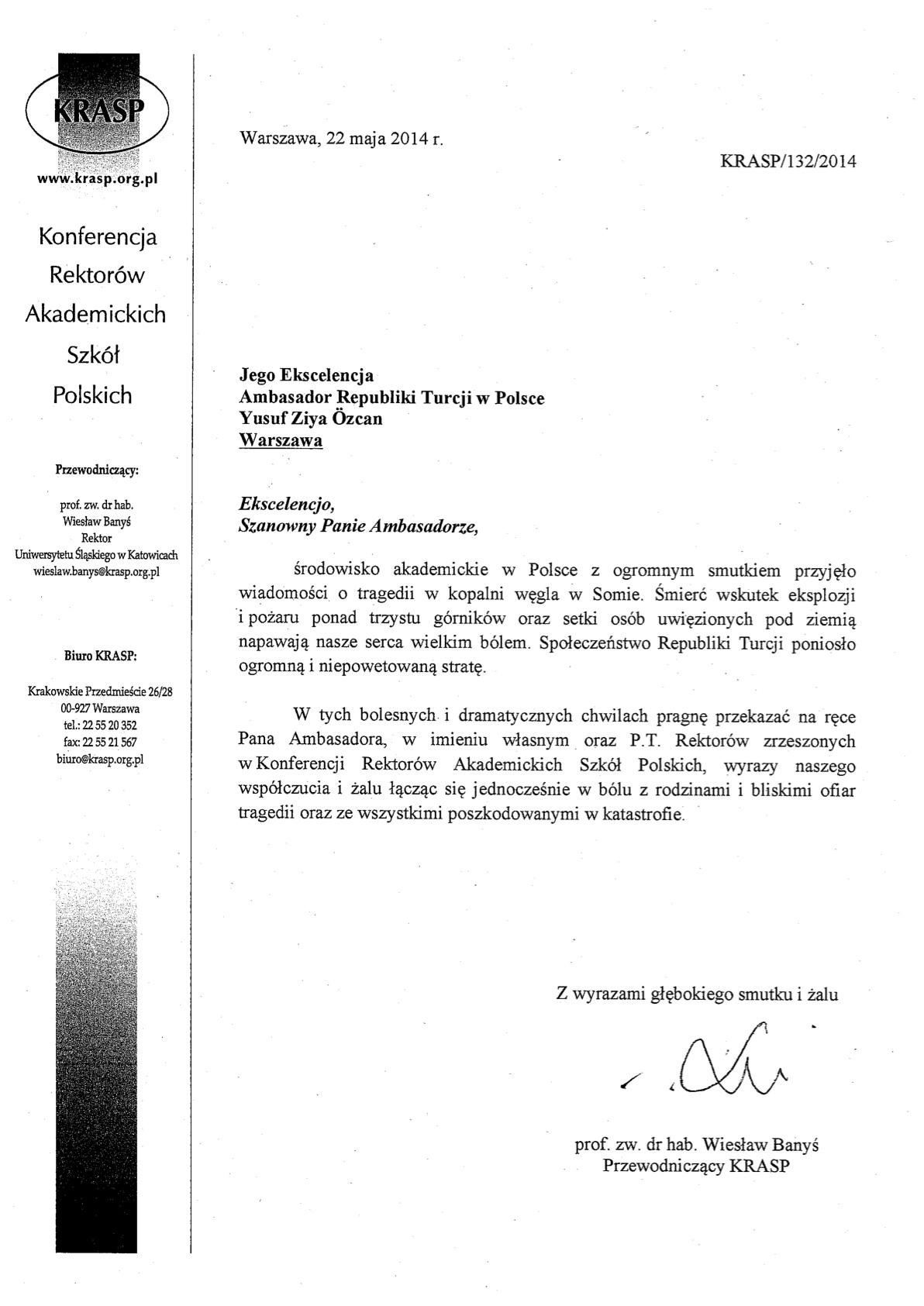 Pismo Przewodniczacego KRASP