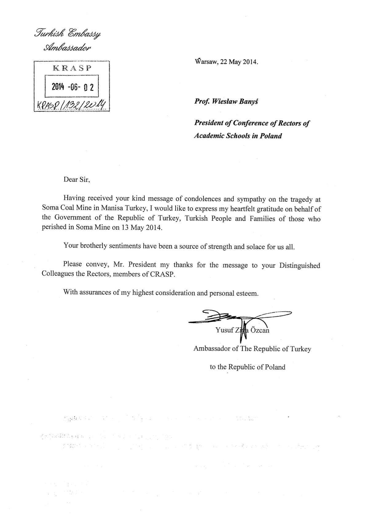 pismo od Ambasadora  Republiki Turcji w Polsce