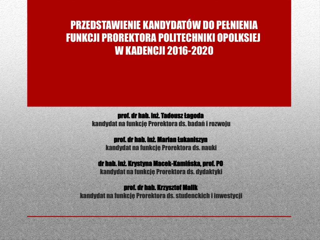 Prorektorzy 2016-2020